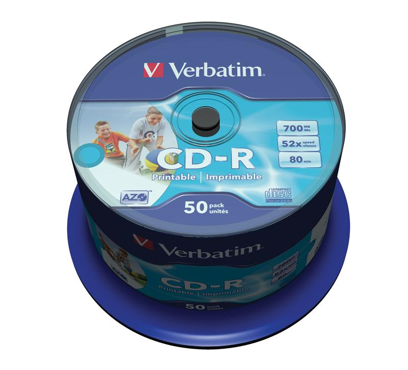VERBATIM CD-R(50-Pack)Spindle/Inkjet Printable/52x/700MB