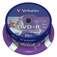 VERBATIM DVD+R(25-Pack)Inkjet Printable/Spindle/16x/4.7GB