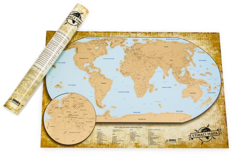 Stírací mapa světa - Luxusní česká verze (LS05-1)